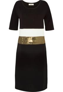 Vestido Quadrado Texturas Egrey - Preto