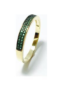 Anel Meia Alianca Banhada Em Ouro 18K, Cravejada Com Cristal - Feminino-Verde