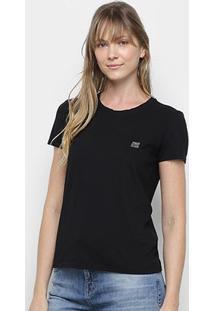 Camiseta Ellus 2Nd Floor Básica Logo Feminina - Feminino-Preto