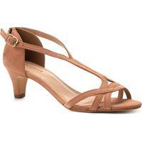 8a38e67f0 Sandália Couro Shoestock Salto Baixo Nobuck Feminina - Feminino-Nude