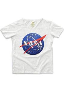 Camiseta Ampla Geek Cool Tees Nasa Vintage Feminina - Feminino-Mescla Claro