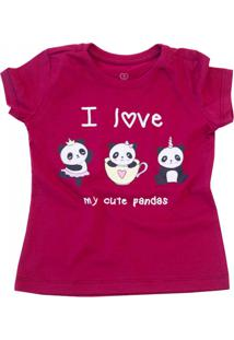 Camiseta Doll Up I Love My Cute Pandas Manga Curta Menina