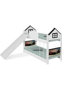 Beliche Infantil Casa Camaro Black Com Escorregador E Colchões Casah