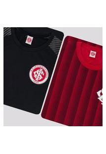 Kit De 2 Camisas Internacional Ruy Preta E Vermelha