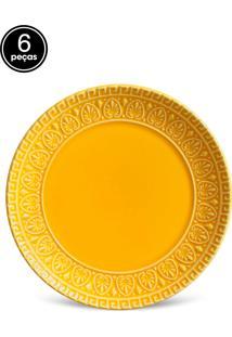 Conjunto 6Pçs Pratos De Sobremesa Porto Brasil Greek Amarelo
