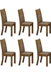 Conjunto Com 6 Cadeiras Havaí Ipê E Animale Capuccino