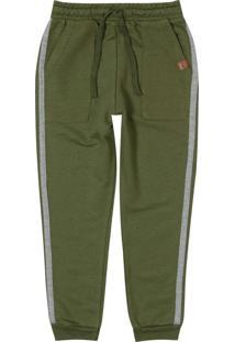 Calça Verde Militar Jogging Em Moletom Menino