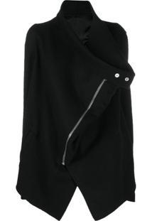 Rick Owens Asymmetric Zipped Coat - Preto