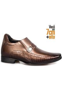 Sapato Social Couro Rafarillo Masculino Ajuste Elástico Leve - Masculino-Tabaco