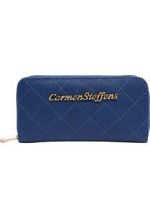 Carteira Em Couro- Azul- 9,5X19X2Cmcarmen Steffens