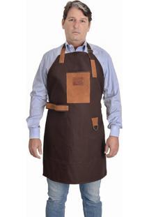 Avental Para Churrasco E Cozinheiro Com Bolsos Em Couro E Lona Hylberman Marrom