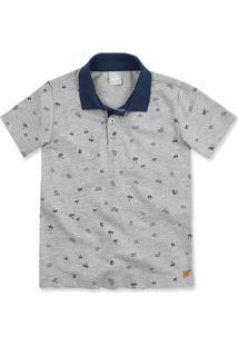 Camisa Polo Infantil Menino Com Mini Print Hering Kids 4530724cc2759