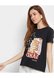 Camiseta Cantão Folhagem Manga Curta Feminina - Feminino-Preto