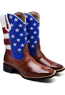 Bota Texana U.S.A Masculina Cano Longo 2504 Bico Quadrado Couro