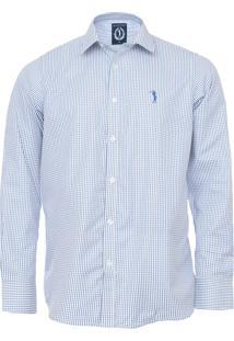 Camisa Aleatory Slim Quadriculada Off-White/Azul