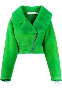 Off-White Jaqueta Com Pelos - Verde