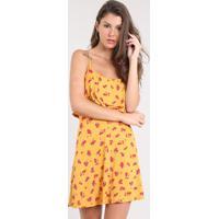 d8eefe4fa CEA. Vestido Feminino Curto Evasê Estampado Floral Com Sobreposição Alça  Fina Mostarda