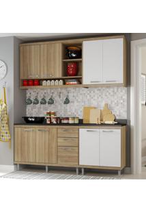Cozinha Compacta Sicília 8 Portas Para Pia Com Balcão Branco/Argila - Multimóveis