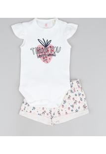 Conjunto Infantil Body Thank You Com Morango Off White + Short Floral Rosa Claro