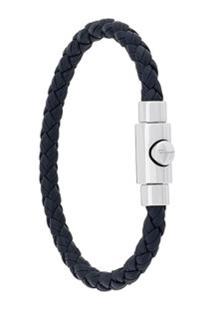 Salvatore Ferragamo Bracelete Com Couro Trançado - Azul