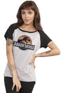Camiseta Bandup Raglan Jurassic World Logo - Feminino