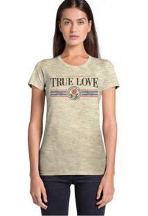 Camiseta Joss True Love Feminina - Feminino-Bege