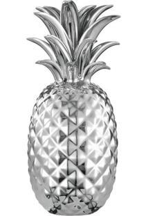 Abacaxi Decorativo Em Cerâmica Prata
