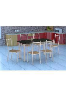 Conjunto De Mesa Granada Com 6 Cadeiras Lisboa Branco E Nature Bege