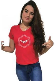Camiseta Gola V Cellos Hexagonal Premium Feminina - Feminino-Vermelho