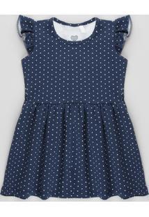 Vestido Infantil Estampado De Poá Com Babado Sem Manga Azul Marinho