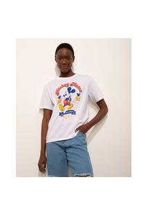 T-Shirt De Algodão Mickey Manga Curta Decote Redondo Mindset Off White