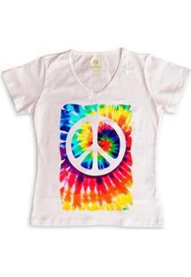 Camiseta Gola V Cool Tees Tie Dye Simbolo Da Paz Feminina - Feminino-Rosa