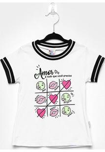 Blusa Infantil Pulla Bulla Glitter Amor Feminina - Feminino-Branco