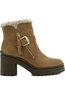 Ankle Boots Feminina Ramarim Pelo Caramelo