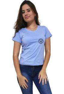 Camiseta Gola V Cellos Seal Premium Feminina - Feminino-Azul Claro