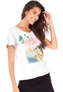 Camiseta Sidewalk Amalfi Coast Feminina - Feminino-Cinza