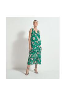 Vestido Midi Sem Mangas Estampa Floral Com Babados   Cortelle   Verde   M