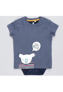 Body Camiseta Infantil Com Estampa De Coala Manga Curta Gola Careca Azul