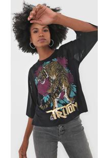 Camiseta Triton Onã§A Tule Preta - Preto - Feminino - Viscose - Dafiti