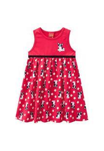 Vestido Infantil - Meia Malha - Cachorrinho - Vermelho - Kyly