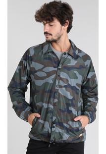 Jaqueta Corta Vento Masculina Estampada Camuflada Verde Militar