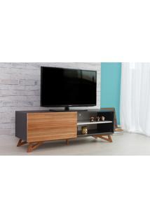 Rack De Tv Preto Moderno Vintage Retrô Com Porta De Correr Madeira Freddie - 140X43,6X48,5 Cm