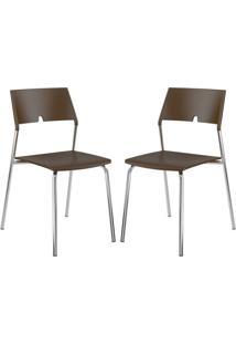 Cadeira 1711 Cromada 02 Unidades Polipropileno Cacau Carraro