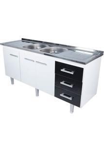 Gabinete De Cozinha New Milano 178,4X55Cm Branco E Preto Bonatto