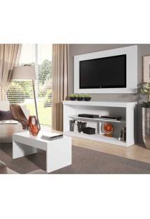 Rack C/Painel Tv Até 47 Pol Mesa Centro Inovare Multimóveis Branco Acetinado Branco