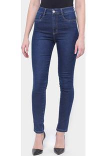 Calça Jeans Sawary Legging Super Lipo Cinta Feminina - Feminino-Azul