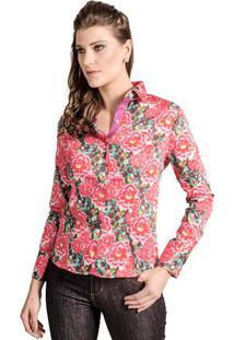 Camisa Feminina Slim Florida Pink Floral Carlos Brusman