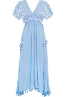 e8d288658 Oqvestir. Vestido Bordado Espelhos Farm - Azul