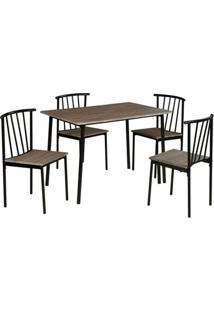Conjunto De Mesa Com 4 Cadeiras Ourense Cinza E Preto