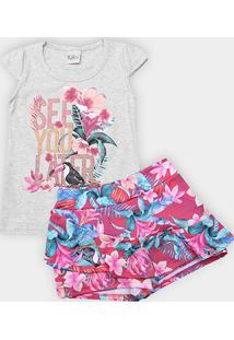 Conjunto Infantil Kiko & Kika Tropical Floral Feminino - Feminino